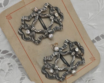 2 French Vintage Silver Plated Metal and Paste Ribbon Shoe Buckles Pair