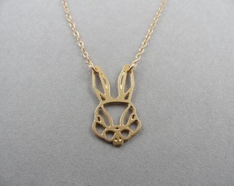 animal necklace, rabbit necklace, animal jewelry, trophy head, rabbit head, gold rabbit, bunny jewelry, bonny rabbit