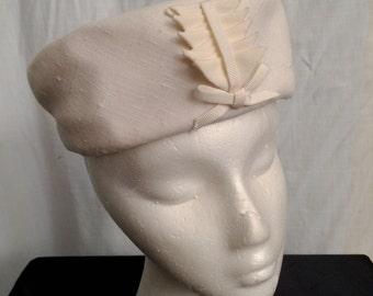 Vintage 1950s Winter White Raw Silk Pillbox Hat by Wesco