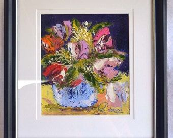 Tulips and Gypsophila, Framed Oil Painting
