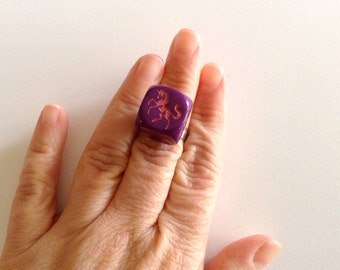 Unicorn Ring - Dice Ring - Bunco -  Pink - Purple - Adjustable - Vegas Ring - Bachelorette Ring - Lucky Ring