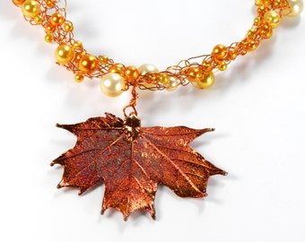 Autumn Leaf Wire Crochet Necklace, Maple Leaf Necklace, Real Leaf Jewelry