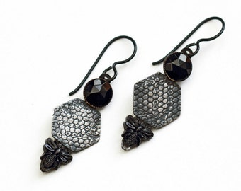 Neo victorian earrings French jet bees and silver earrings Victorian antique insect beads hexagon silver