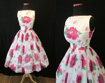 "Delightful 1950s' Chiffon Rose Print Summer Party Cocktail Dress by ""JR. Theme NY"" Rockabilly VLV Pinup Girl Vixen Cupcake Floral Size-Small"