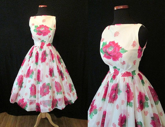 """Delightful 1950s' Chiffon Rose Print Summer Party Cocktail Dress by """"JR. Theme NY"""" Rockabilly VLV Pinup Girl Vixen Cupcake Floral Size-Small"""