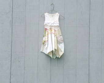 child size 3T  4T upcycled dress recycled clothing little girls romantic flower girl dress by CreoleSha