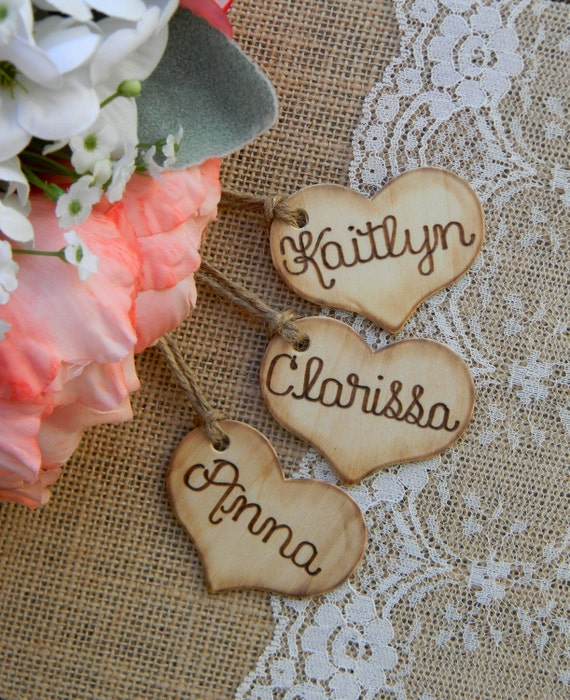 Add On Rustic Charm Wooden Hearts Wood Burned Engraved Bridal Party Hearts Bridesmaid Hearts Wedding Bouquet Heart Rustic Stocking Name Tags