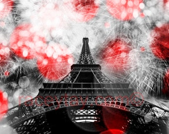 Eiffel Tower Print, Black & White Photography with Red, Large Wall Art, Fireworks, Paris Decor, Office Decor