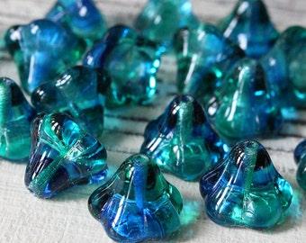 Czech Bell Flower Beads - Jewelry Making Supplies - Czech Glass Beads - 10x11mm Trumpet Flower-  Sapphire Emerald - Choose Amount