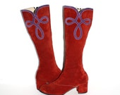 Vintage 60's Boots Red Suede Purple Go-Go 8M