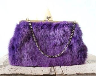 Rare Mid Century Jewel Tone Fur Handbag