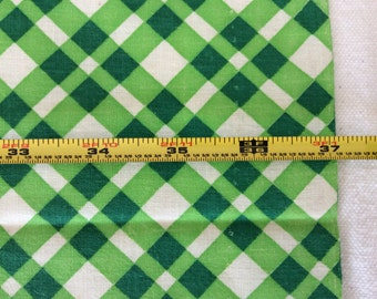 "Vintage Feed Sack Fabric 37"" x 45"" Green Plaid 005"