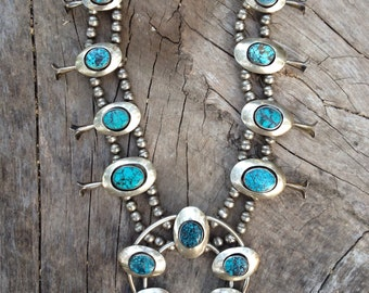Vintage SQUASHBLOSSOM necklace / Sterling silver and spiderweb turquoise / 30 inches long