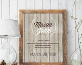 ADOPTION ART GIFT - Personalized Adoption Gift- Never Alone Gift - New BabyGift - Adoption Announcement- Rustic Nursery Decor