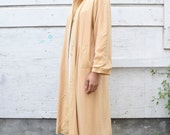 Vintage Silk Minimalist 1990's Buttercup Golden Yellow Trench Coat Loose Jacket S/M/L