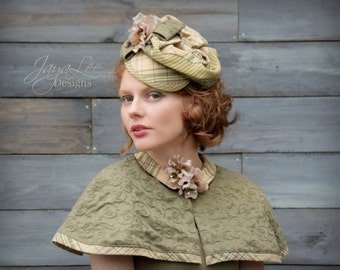 Green Tartan Fascinator Hat 1940's style Mini Hat and Capelet