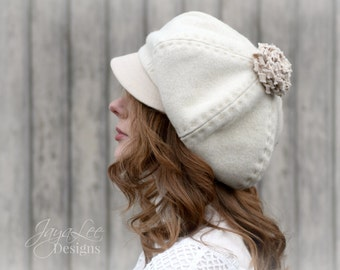 Slouchy Newsboy Hat Cap Winter White Wool Pompom