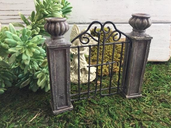 Mini Garden Gate with Pillars,  Fairy Garden Accessory, Miniature Garden Decor, Home & Garden, Topper, Shelf Sitter