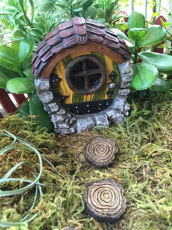 SALE Round Striped Fairy Garden Door, 3 Inches Tall Fairy Garden Accessory, Miniature Garden, Yard and Garden Decor, Topper