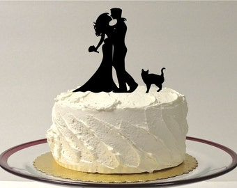MADE In USA, Wedding Cake Topper Silhouette Cat + Bride & Groom With Pet Cat Family of 3 Hair Down Bride Cake Topper Bride Groom