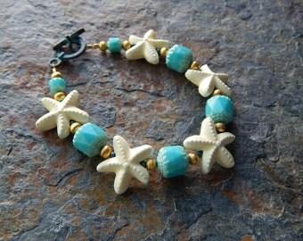 Starfish bracelet, mermaid jewelry, ceramic starfish, beach bracelet, boho, beachy ,turquoise and blue, ocean lover,under the sea, kawaii