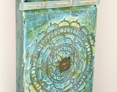 Whisper Something: original mixed media assemblage art, glass, brass, blue, encaustic painting upcycled collage Leslee Lukosh of Foundturtle