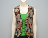 Vintage 1990's Embroidered Tapestry Vest with Cat/Kitten Pattern