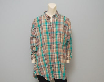 Vintage 1990's Men's Button Down Plaid Long Sleeve Shirt - Light Brown and Turquoise
