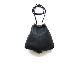 Vintage Bucket Bag / Black Leather Bucket Bag / Mini Purse