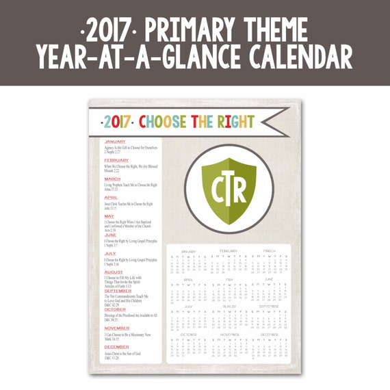 ... Theme-Year at a Glance Calendar-Instant Download Printable-DIY-LDS