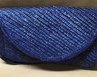Straw Blue Clutch Bag with 12 Inch Shoulder Strap New with Tag-Gift