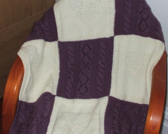 Baby or toddler blanket hand knit in 100 percent Acrylic
