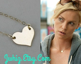 Charlize Theron Gold Heart Necklace, 14K Gold Fill, Sterling Silver, Celbrity Jewerly, Centered Heart, Heart Of Gold