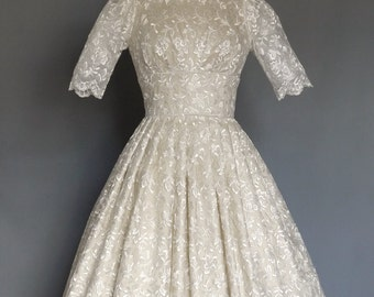 Champagne Silk Dupion and Full Enchanted Lace 50s Wedding Dress- Made by Dig For Victory