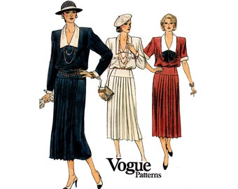 Vogue 9189 Womens Retro Blouson Dress with Pleated Skirt 80s Vintage Sewing Pattern Size 10 Bust 32 1/2 inches