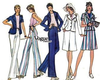 1970s Jacket Skirt Pants Blouse Pattern Vogue 8519 Vintage Sewing Pattern Size 12 Bust 34 inches UNCUT Factory Folds