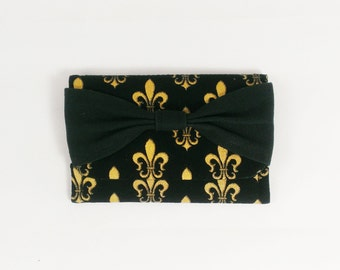 Fleur De Lis Bowtie Wallet or business card holder Black Gold