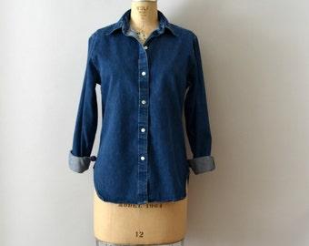 Vintage Denim Shirt - 90s J. Crew Blue Denim Blouse