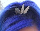 Labradorite Tiara Gemstone Bun Pin with Silver Feathers