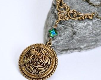 Vintage Button Necklace, Antique Brass Filigree Necklace, Swarovski Crystal Necklace, Tourmaline Green, Button Jewelry, Floral Pendant