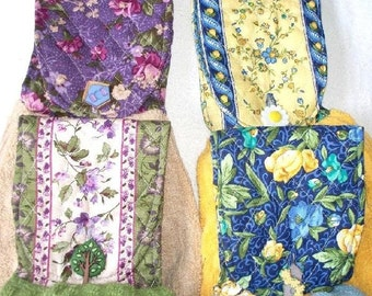 Quilted Flower Fabric Topped Double T-Towel, Your Choice, Extra Heavy Hand Towel,Designer Buttons,Blue,Tan,Yellow or Green,Quality Quilted