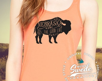 Nebraska the Good Life Buffalo Ladies Tank, Nebraska shirt, Buffalo, Bison tank top, coral, mint Flowy Racerback Tank