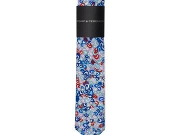 SKINNY TIE Pomp and Ceremony, Men's skinny tie, Liberty of London Rave Rainbow print