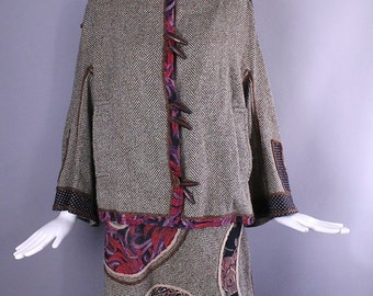 1970s KOOS Van Den AKKER herringbone wool patchwork art to wear folk skirt and tunic jacket SUIT outfit medium m