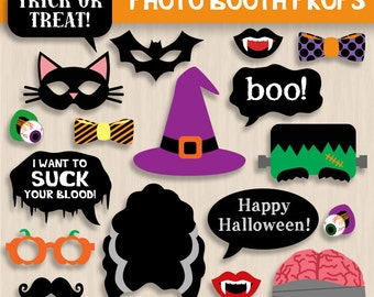PHOTO BOOTH PROPS for Halloween- Instant Printable Download