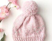 Knit Baby Hat, Baby Girl Knit Hat, Baby Beanie, Newborn Beanie With Hearts, Pom Pom Beanie, Heart Knit Fabric, Fair Isle Hat, Baby Gift