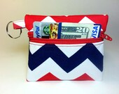 Coin Purse, Change Purse, Business Card Holder, Key Chain Red White and Blue Chevron