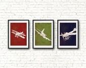 Airplane Nursery Wall Art Set - Airplane Prints, Aviation Wall Art, Vintage Airplane Nursery