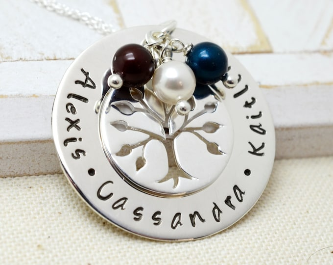 Personalized Family Tree Necklace, Grandmothers Necklace, Grandma Jewelry, Birthstone Necklace, Mom Necklace, Nana Necklace, Tree of Life