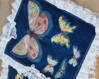 vintage 70s butterfly print pillow covers throw pillows retro mod woodland home decor